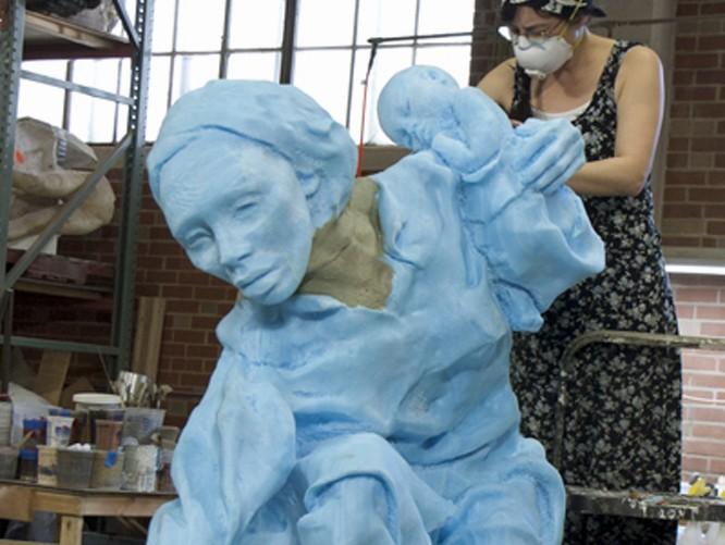 CNC Foam Milling and Digital Enlargement of a Woman Sculpture