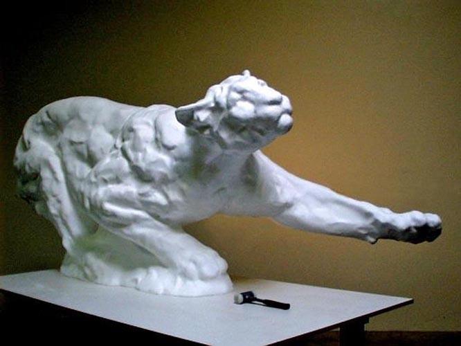 CNC Foam Milling and Digital Enlargement of Cougar Sculpture