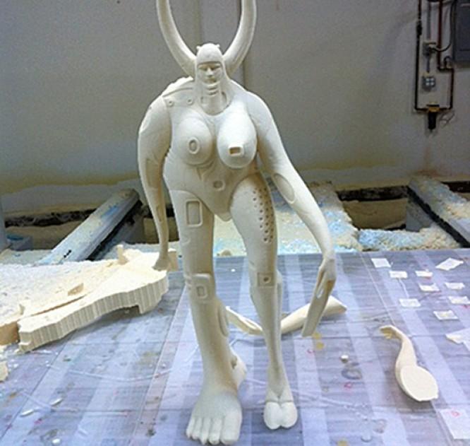 CNC Foam Milling, Structured Light 3D Scanning and Digital Enlargement of Goddess Sculpture