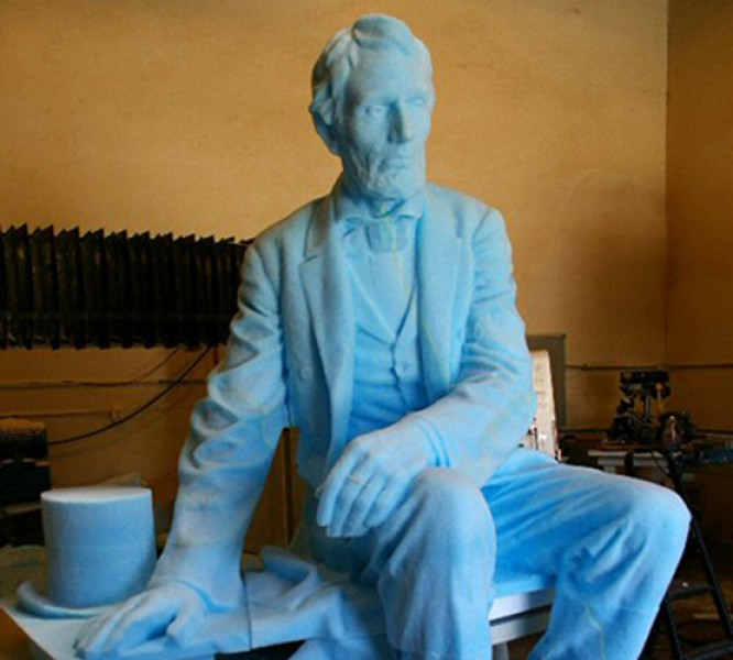 CNC Foam Milling, Structured Light 3D Scanning and Digital Enlargement of Gutzon Borglum Seated Lincoln