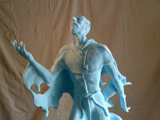 CNC Foam Milling, Structured Light 3D Scanning and Digital Enlargement of Saint Sculpture