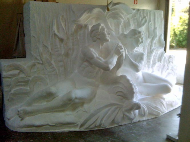 NC Foam Milling, Structured Light 3D Scanning and Digital Enlargement of Spirit of The Ocean Fountain Sculpture