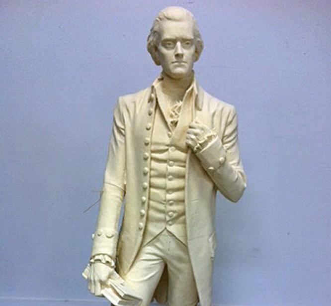 CNC Foam Milling, Structured Light 3D Scanning and Digital Enlargement of Thomas Jefferson Sculpture