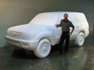 CNC Foam Milling, Structured Light 3D Scanning and Digital Enlargement of Toyota Land Cruiser
