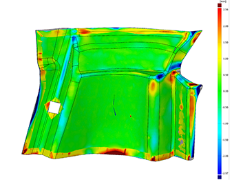 3D inspection of 3D scan data of interior panel of a Ferrari Scuderia 430 racing coupe