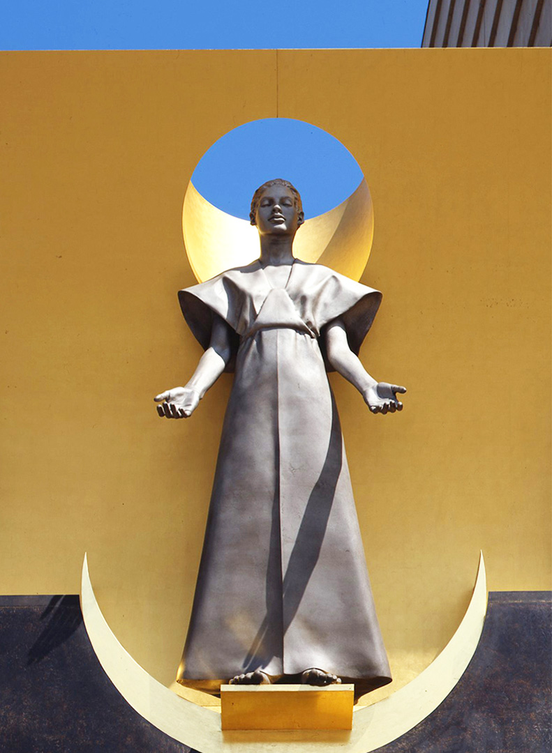 Image of the Virgin Mary on the Great Bronze Doors of the Cathedral of Our Lady of the Angels
