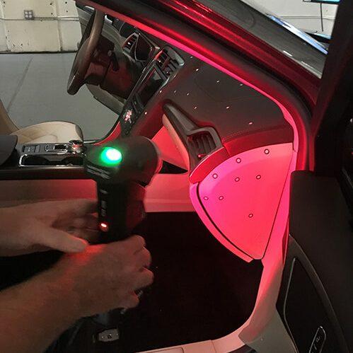 3D scanning automotive interior with Creaform Handyscan 3D scanner.