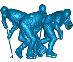 3D scan data for sculpture honoring hockey great Mario Lemieux at the Consol Energy Center