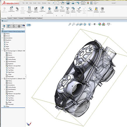 Solidworks CAD file reverse engineered from 3D scan data of an ATV transmission housing.