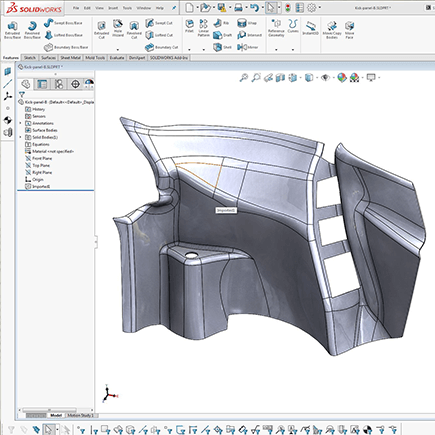 Solidworks CAD model of Ferrari Scuderia 430 racing coupe interior panel, reverse engineered from 3d scan data.