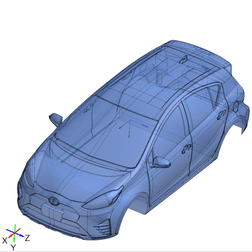 CAD model of Toyota Prius reverse engineered from 3D scan data.