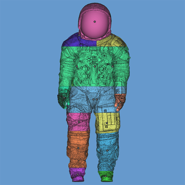 3D scan data of actual space suit worn by Neil Armstrong for moon landing, analysis for 3D printing