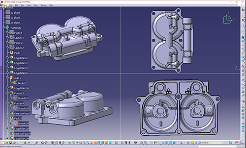 CATIA CAD file reverse engineered from 3D scan data using Geomagic DesignX software.