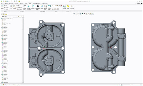 PTC CREO CAD file with feature tree created from 3D scan data