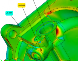 Color inspection map showing deviation between CAD data and 3D scan data