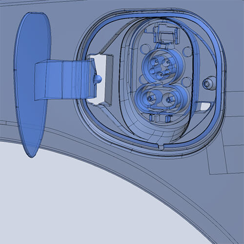 CAD model of electric car charging port created from 3D scan data using Geomagic DesignX® software