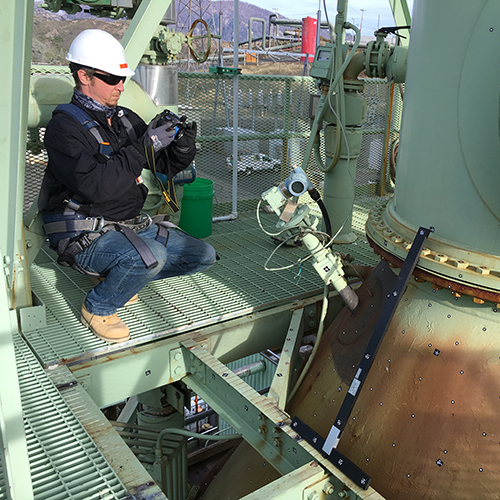 3D photogrammetry scanning a power generation plant using an Aicon3D photogrammetry system
