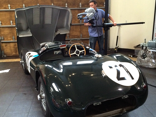 3D Scanning 1953 C Type Jaguar with a Breuckmann StereoScan structured light 3D scanner