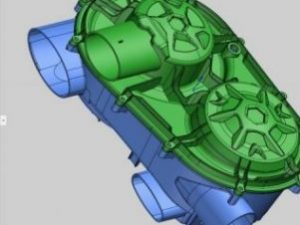 Solidworks Assembly model of an ATV transmission housing created using 3D scanning and Geomagic DesignX software