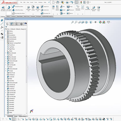 Solidworks model of axle part for a San Francisco cable car (Created from 3D scan data using Geomagic DesignX® software).