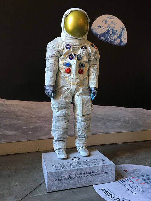 Resin cast and painted model of Neil Armstrong's space suit created from 3D scan data