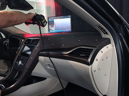3D scanning a Ford Fusion interior using a Creaform Handyscan 3D scanner