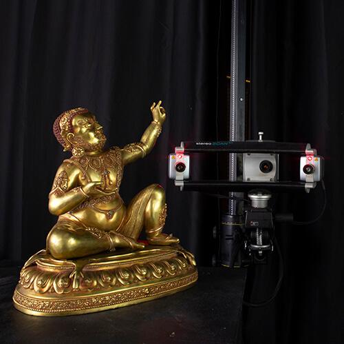 Bronze Buddha being 3D scanned using a Breuckmann 8MP structured light 3D scanner