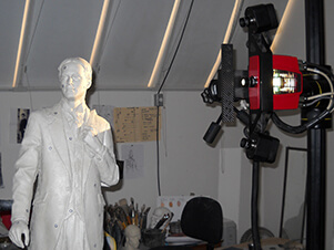 3D scanning a macquette by the sculptor Bruce Wolfe for use in creating a pattern for bronze casting