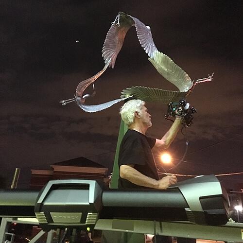 "Night-time 3D scanning of the sculpture ""Cranes"", by sculptor Joanna Blake, using a Creaform Metrascan 3D scanner"