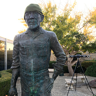 3D scanning a statue of John Steinbeck at the John Steinbeck library in Salinas, California