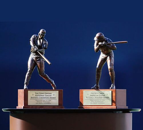 Bronze trophies for Major League Baseball's Annual Batting Championship awards, created by Scansite 3D using 3D scanning