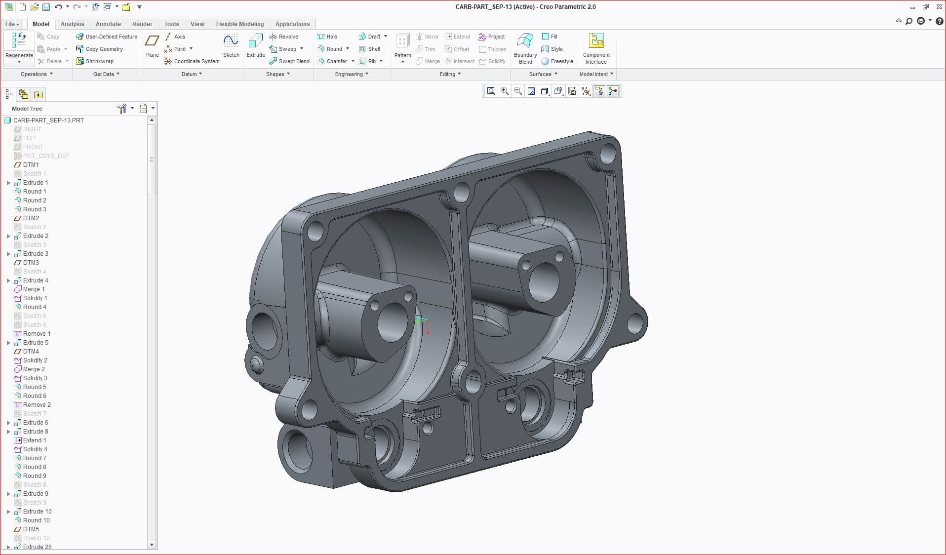"""Natively parametric"" (with feature tree) file produced for PTC CREO®"