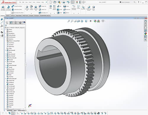 Parametric Solidworks file (with feature tree) created from 3D scan data in Geomagic DesignX software