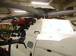 3D scanning the rotor assembly on a Sikorsky helicopter