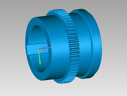 3D scan data of cable car axle part created using a Creaform Metrascan 3D scanner