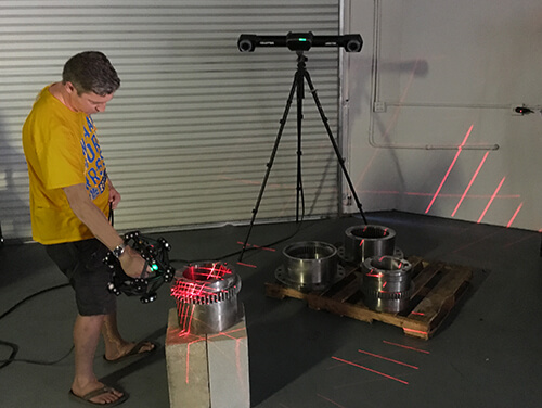 3D scanning of Cable Car axle parts using a Creaform Metrascan 3D scanner